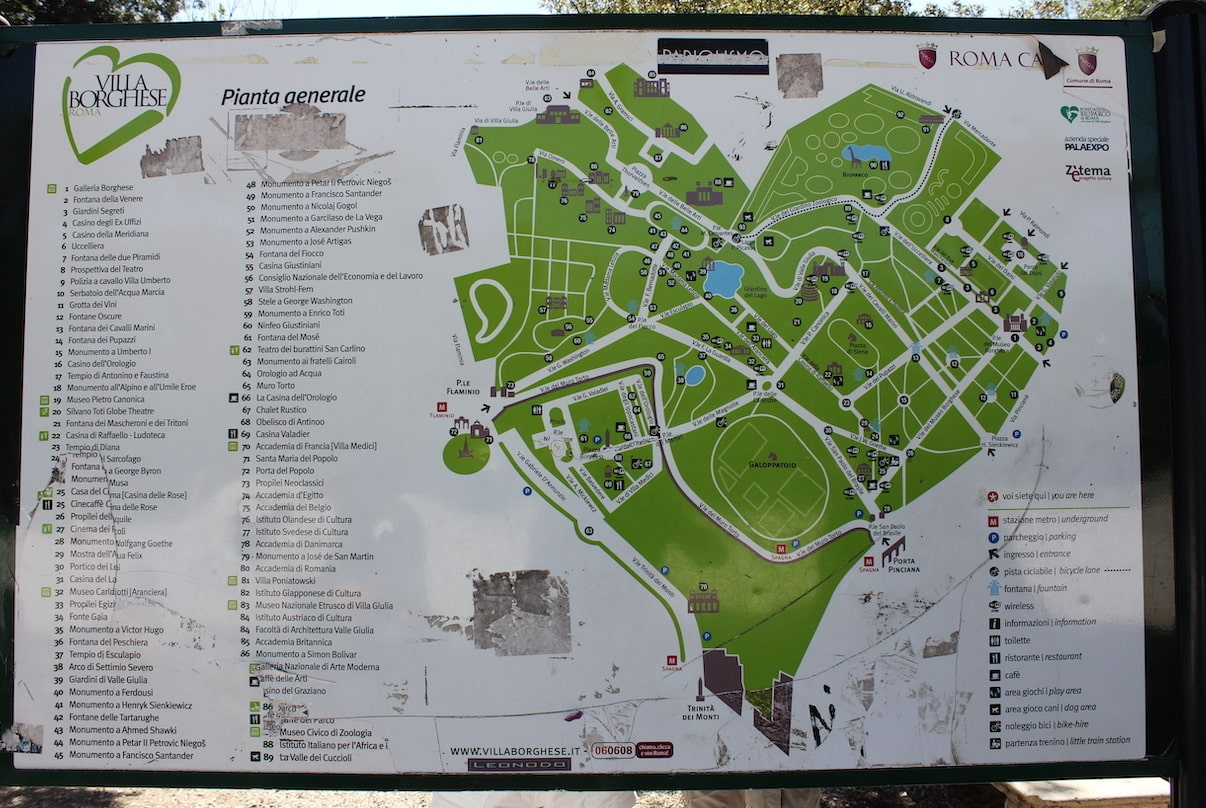 map to find where is the villa borghese points of interest