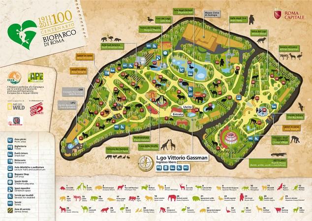 villa borghese zoo Map Bioparco